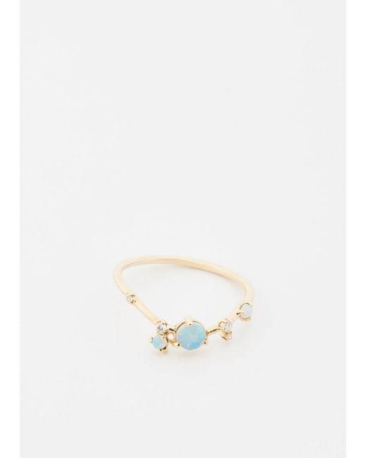 Wwake | Metallic 14k Gold/opals W/ Wht Diamonds Organic Triangle Ring | Lyst