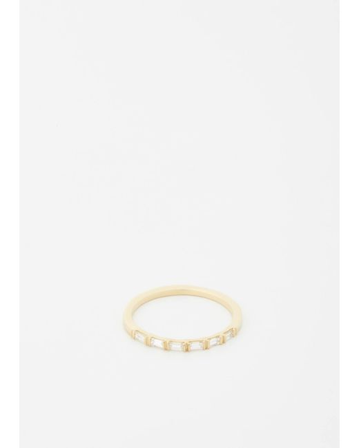 Mociun - Metallic Bar Set Baguette Diamond Ring - Lyst