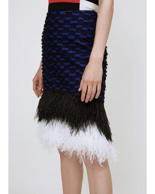 Proenza Schouler | Indigo / Black Ostrich Feather Pencil Skirt | Lyst