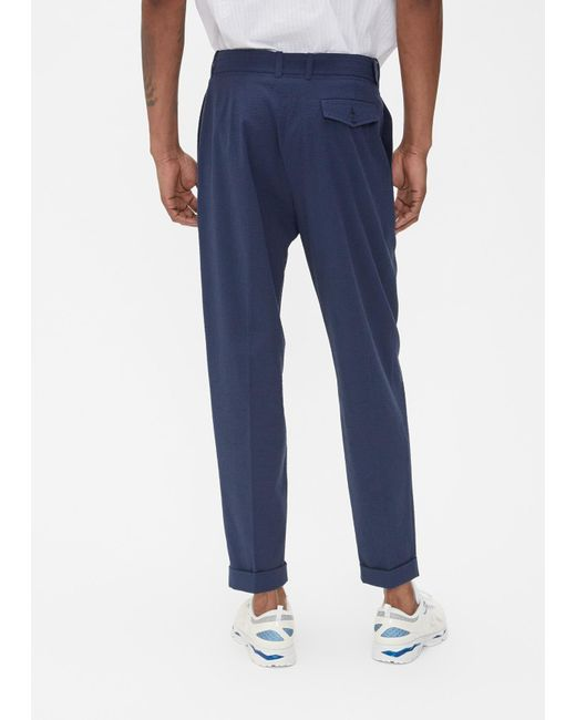 Goetze Charles Pleated High Waist Pant In Blue For Men Lyst