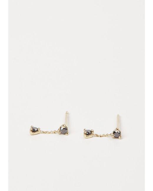 Wwake | Metallic Yellow Gold / Black Diamond Small Two-step Chain Earrings | Lyst