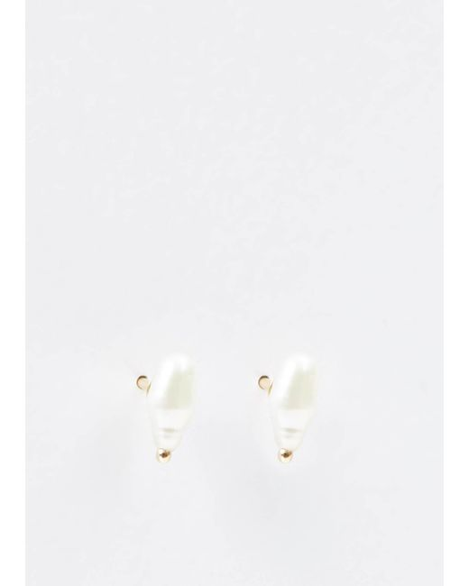 Wwake | Metallic 14k Gold Irregular Pearl Earrings | Lyst