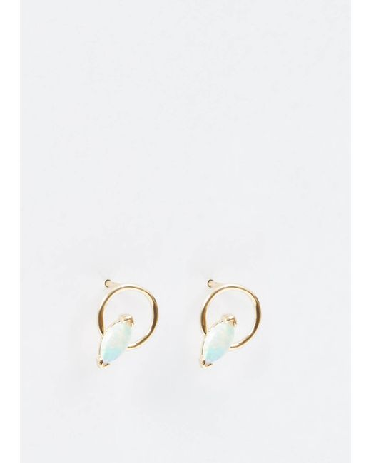 Wwake | Metallic 14k Gold/marquise Opal Small Marquise Opal Circle Earrings | Lyst