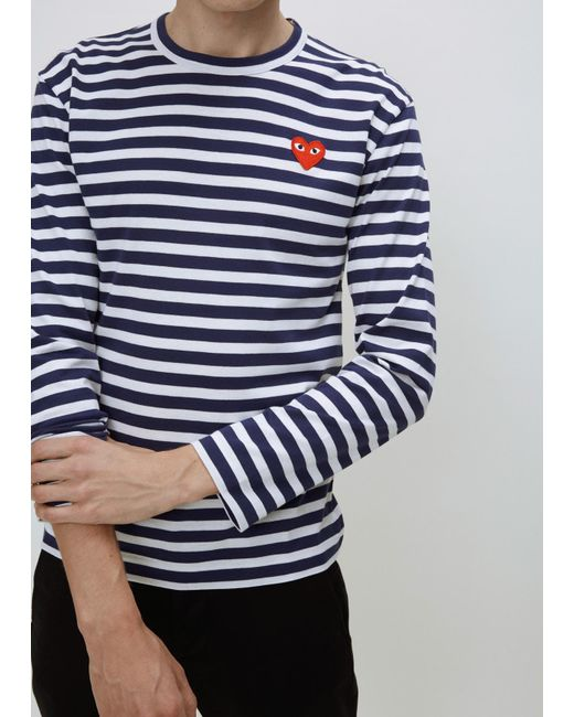 Play Comme Des Gar Ons Navy White Play Striped Long
