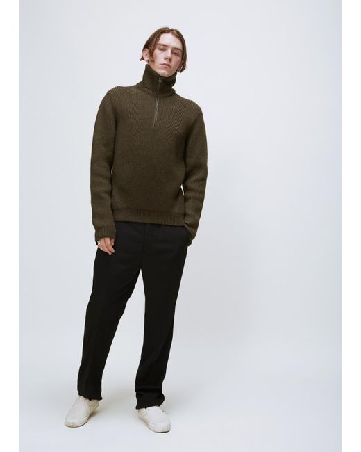 Lanvin | Natural Khaki Placed Darts English Rib Trucker Knit for Men | Lyst