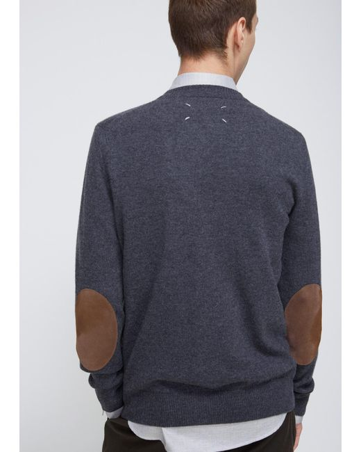 Maison Margiela | Gray Charcoal Elbow Patch Cardigan for Men | Lyst