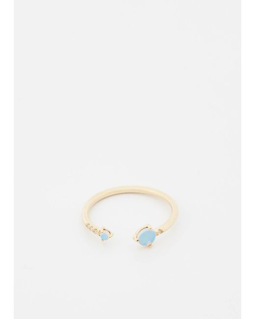Wwake | Metallic 14k Gold/opal/wht Diamonds Open Opal And Diamond Ring | Lyst