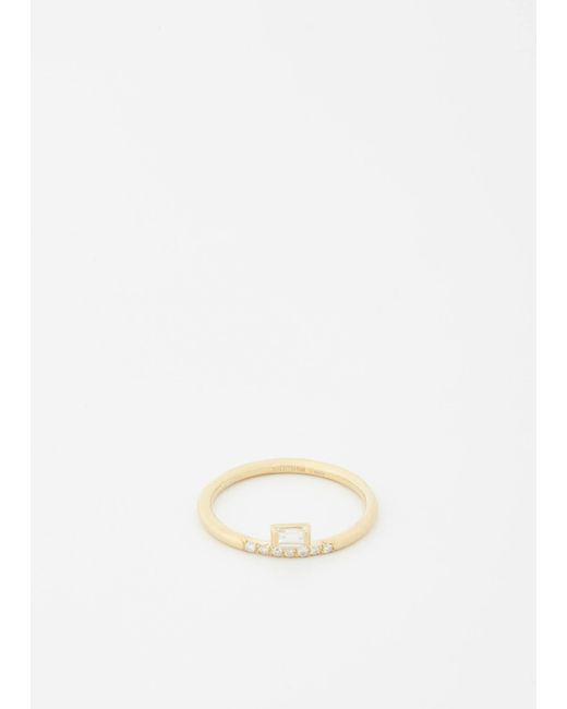 Mociun - White Stacked Baguette Diamond Ring - Lyst