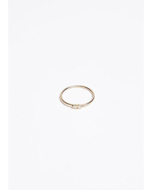 Wwake - Metallic Double Stone Ring - Lyst