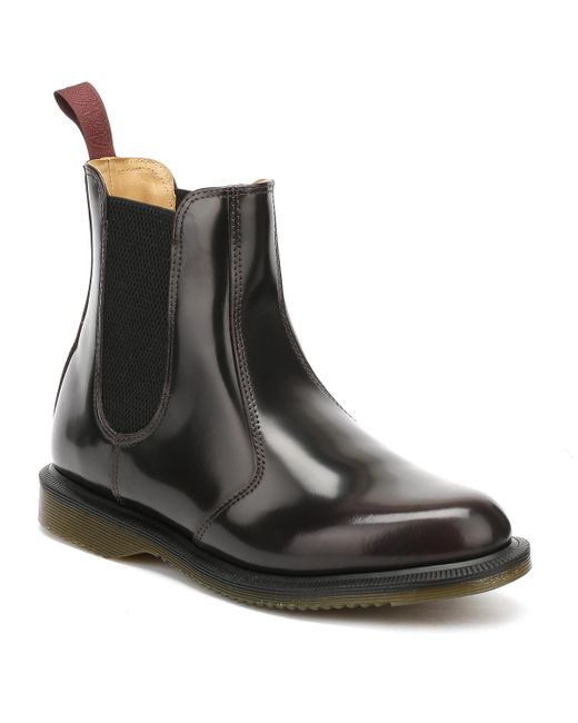 Dr. Martens - Black Dr. Martens Flora Womens Burgundy Classic Rub Off Leather Boots - Lyst