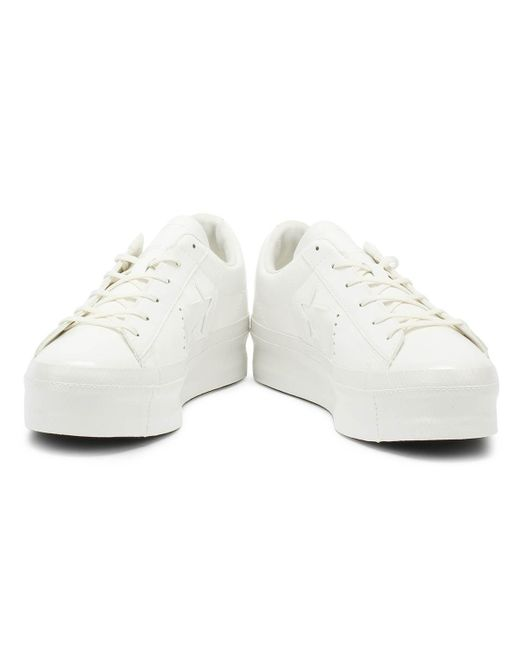 fb10113b2a1 ... Converse - One Star Womens Vintage White Platform Ox Trainers - Lyst ...