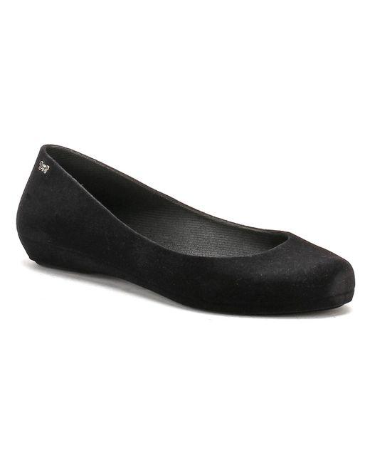Zaxy | Womens Black Pop Flock Ii Ballerina Flats | Lyst