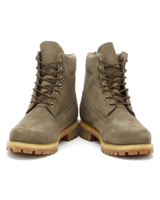 Timberland Leather Mens Canteen Grey 6 Inch Premium Boots in