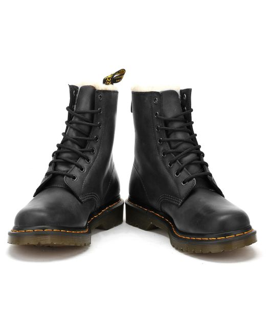 6505afaff89 ... Dr. Martens - Dr. Martens 1460 Serena Fur Lined Womens Black Boots -  Lyst ...