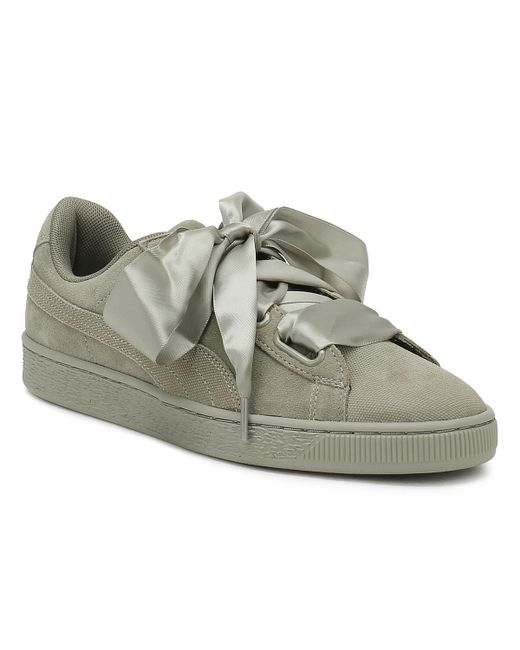 PUMA - Gray Womens Rock Grey Heart Pebble Suede Trainers - Lyst