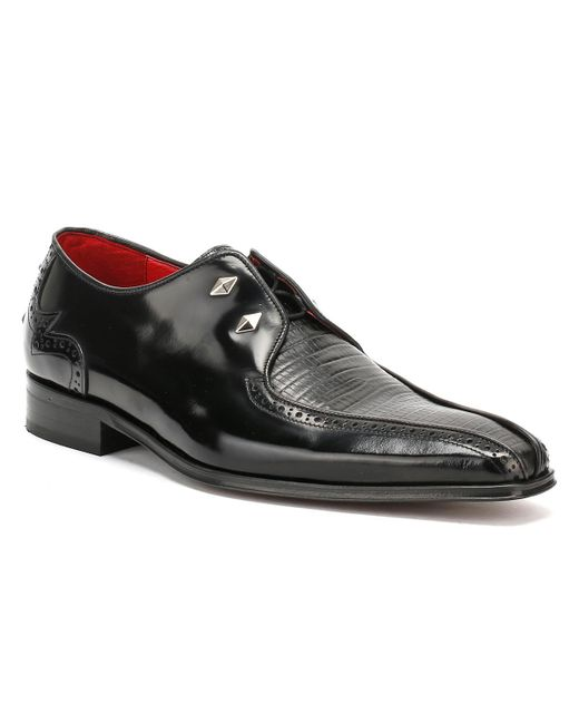 Jeffery West - Mens College Centre Panel Black Leather / Black Lizard Loafer for Men - Lyst