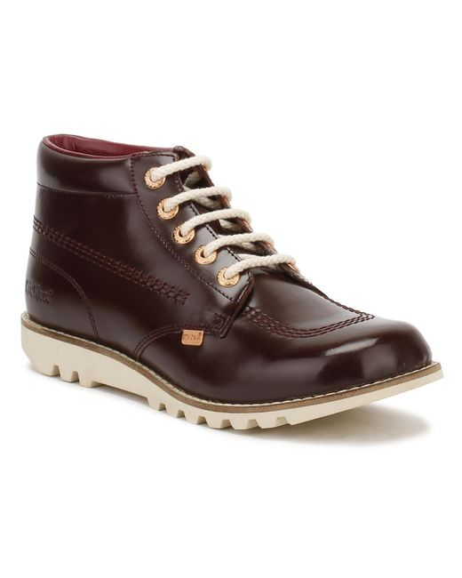 Kickers | Brown Womens Dark Burgundy Leather Kick Hi Boots | Lyst