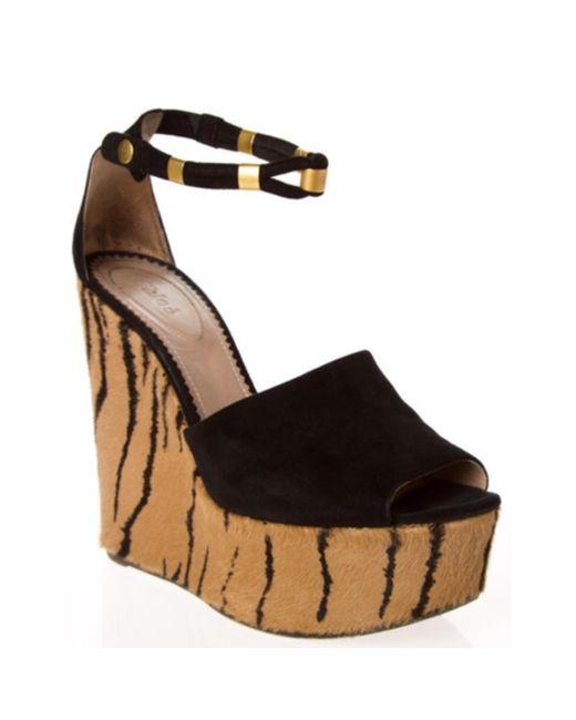 ALAIA Tiger Print Calf Hair Wedge Heel Pumps 38.5