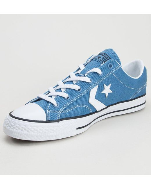 ... Converse - Blue 160556c Star Player Ox Aegean Storm-white-black  Trainers for Men ... 52b8f6652f7