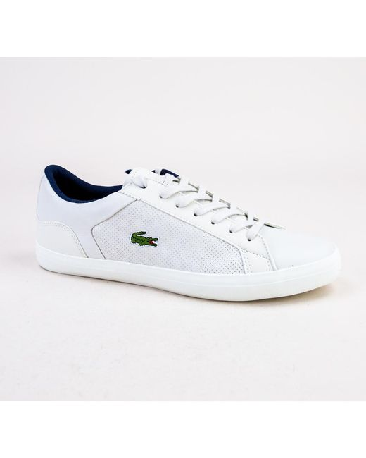 3ee21287772d5 Lacoste Lerond 418 1 Cam Off Wht-off Wht Trainers in White for Men ...
