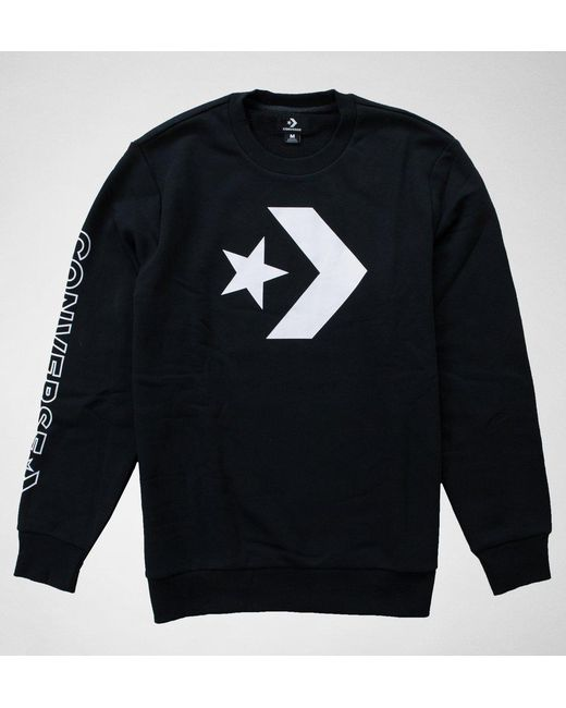 Converse - Blue 10006434 Star Chev Grphc Crew Black Jumpers & Cardigans for Men - Lyst