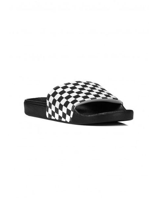 d34c128ae7a ... Vans - Black Slide On (checkerboard) Checkerboard White Flip Flops for  Men - Lyst ...