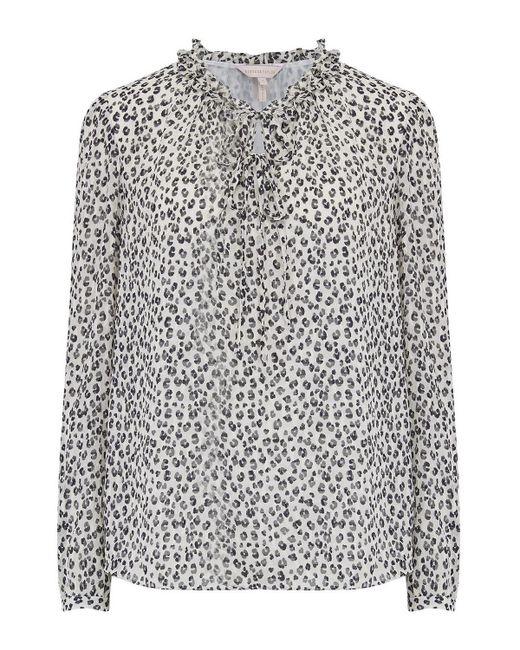 c136cc378e Rebecca Taylor - Multicolor Long Sleeve Mini Cheetah Print Top In Snow  Combo - Lyst