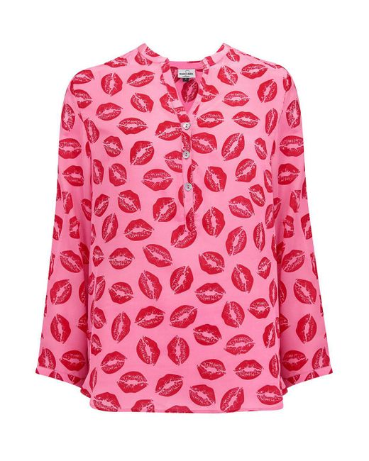 Mercy Delta - Stanford Kiss Print Blouse In Iconic Pink - Lyst