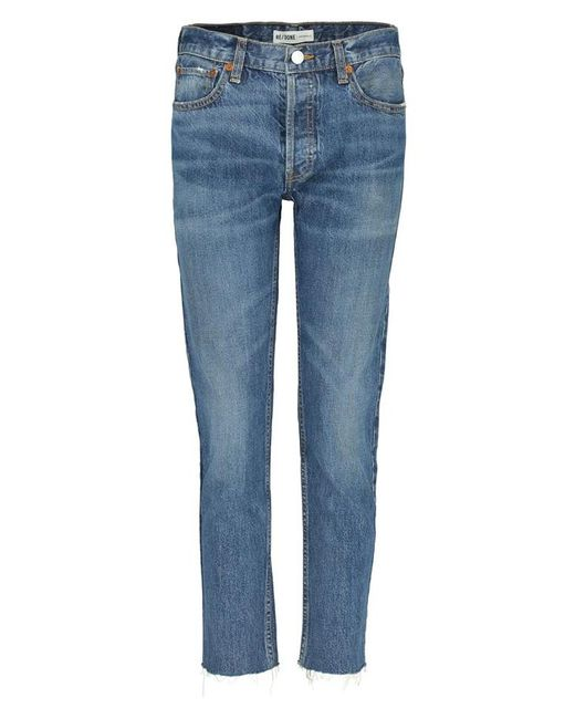 Re/done - Blue Relaxed Crop Jean In Medium - Lyst