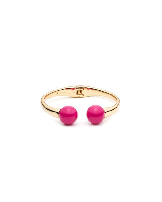 Trina Turk - Pink Beads In Bloom Hinged Cuff Bracelet - Lyst