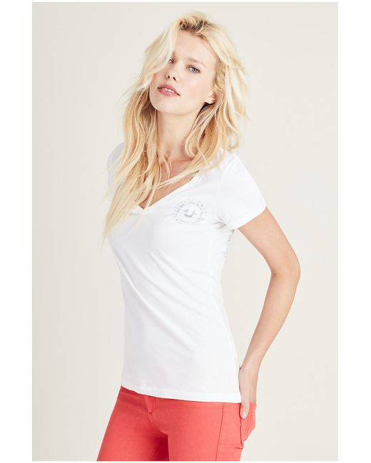 True Religion | White Embellished Cotton Blend T-shirt | Lyst