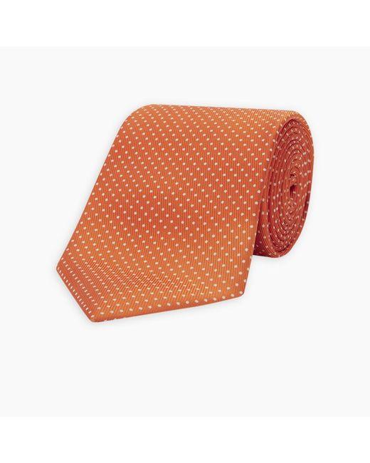 Turnbull & Asser Orange And White Small Spot Silk Tie for men