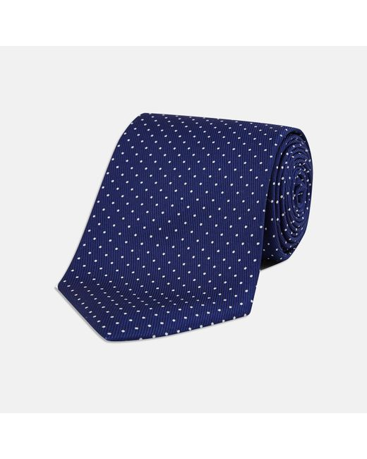 Turnbull & Asser - Blue Navy And White Micro Polka Dot Silk Tie for Men - Lyst