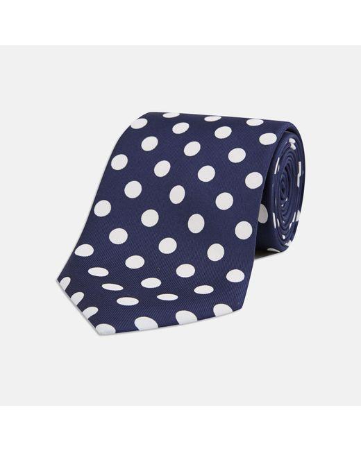 Turnbull & Asser - Multicolor Navy And White Large Spot Silk Tie for Men - Lyst
