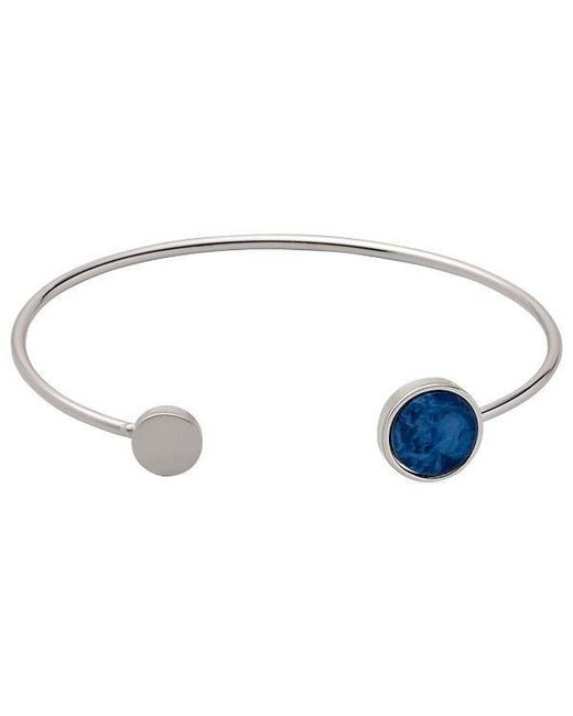 Pilgrim | Metallic Silver Plated Blue Detail Bangle | Lyst