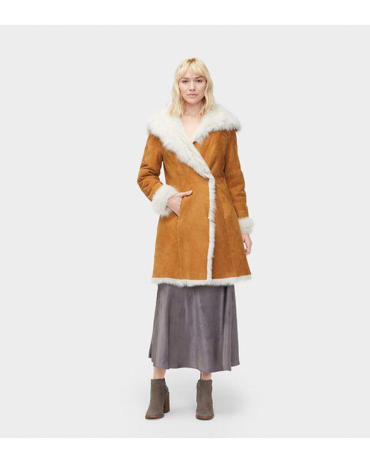 Ugg - Brown Women's Vanesa Toscana Shearling Coat - Lyst