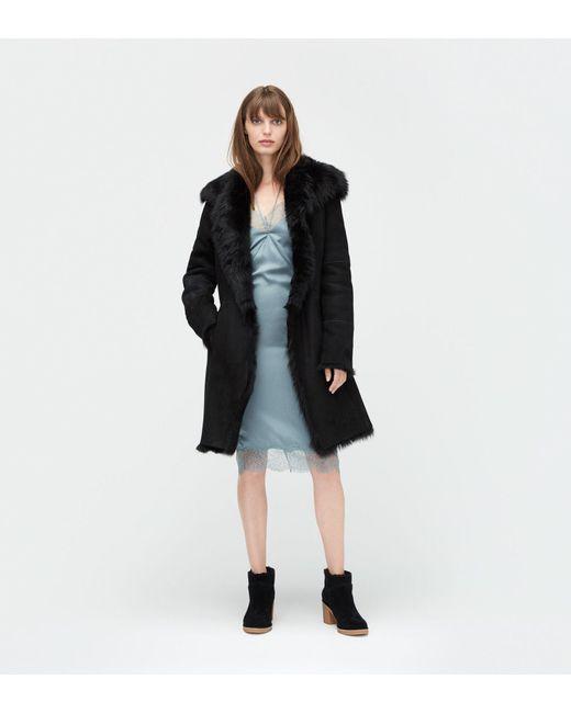 Ugg   Black Women's Toscana Shearling Coat   Lyst