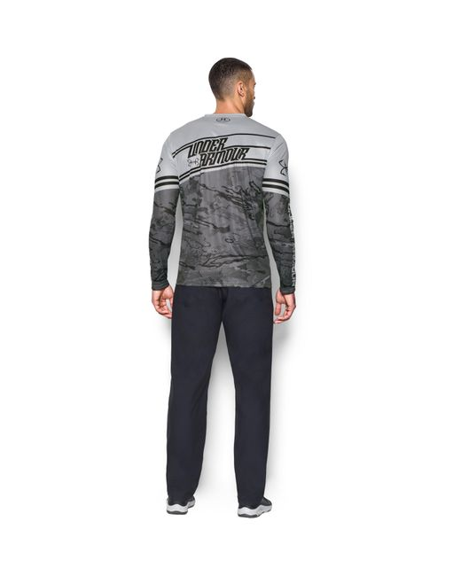 Under armour men 39 s ua fishing jersey in gray for men lyst for Under armour fishing