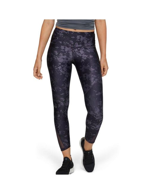 Under Armour Blue Heatgear Armour Mesh Printed Ankle Crop