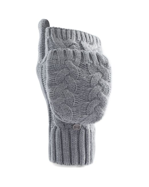 Under Armour | Gray Around Town Flip Cable-knit Mittens | Lyst