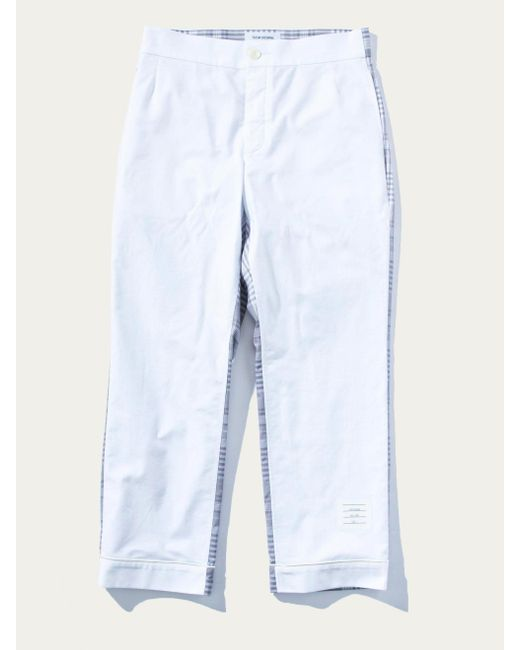 Thom Browne - White Bicolor Pajama Trouser W/piping In Oxford for Men - Lyst