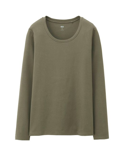 Uniqlo | Green Women Supima® Cotton Crewneck Long Sleeve T-shirt | Lyst
