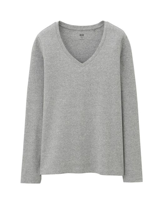 Uniqlo | Gray Women Supima® Cotton V-neck Long Sleeve T-shirt | Lyst