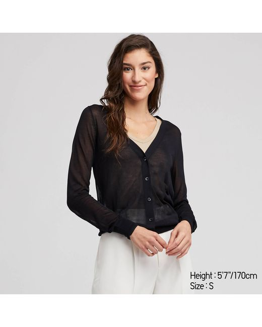 a217649bd669 Lyst - Uniqlo Women Light V-neck Cardigan in Black