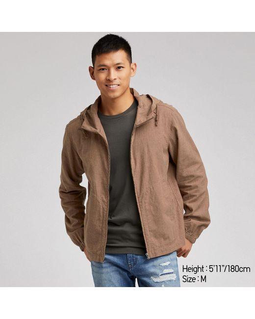 12a587668018 Uniqlo Men Linen Cotton Full-zip Parka in Brown for Men - Lyst