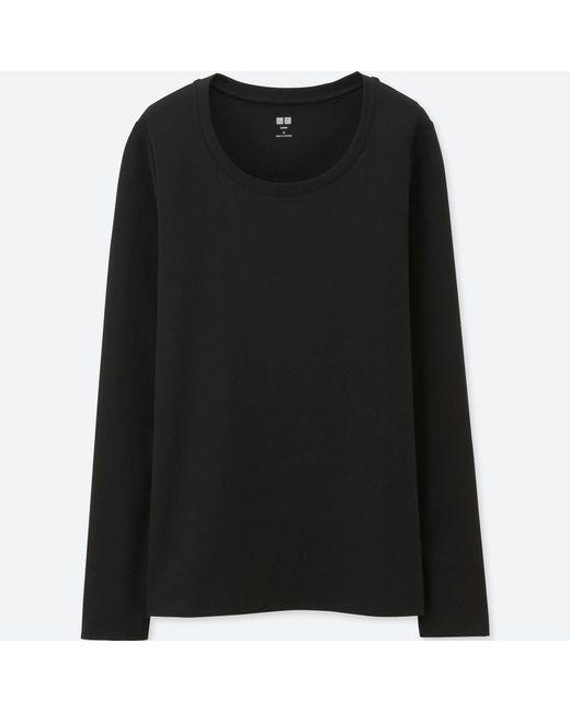 Uniqlo | Black Women Supima® Cotton Crewneck Long Sleeve T-shirt | Lyst