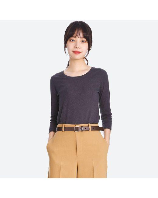 Uniqlo   Gray Women Supima® Cotton Crewneck 3/4 Sleeve T   Lyst