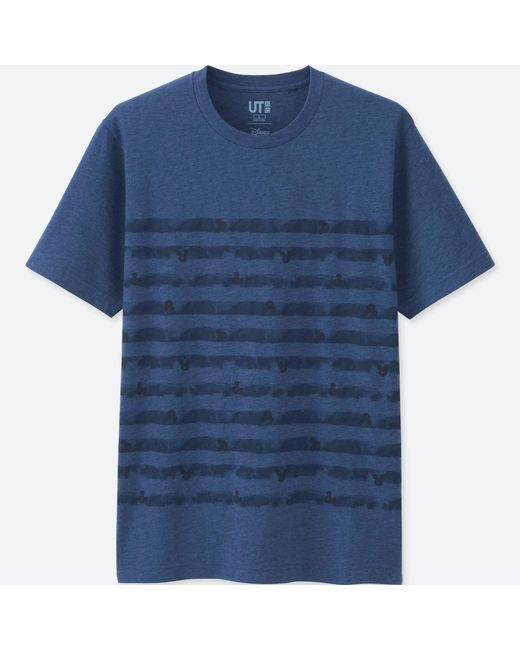 Uniqlo   Men Mickey Blue Short Sleeve Graphic T-shirt for Men   Lyst