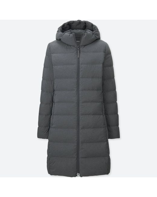 Uniqlo - Gray Women Ultra Light Down Stretch Hooded Coat - Lyst