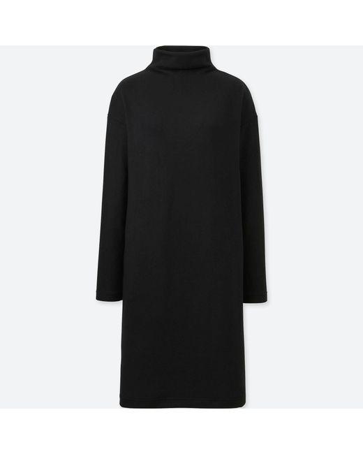 Uniqlo - Black Women Soft Knitted Fleece Long-sleeve Dress - Lyst